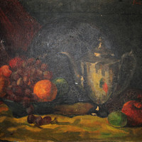 Antique Oil Painting by Justin Pardi, Fruit Still Life Painting, Justin Pardi Painting, Signed Oil Paintings, Original Painting on Canvas