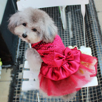 Dog Puppy Wedding Party Lace Skirt Clothes Bow Tutu Princess Dress Pet Apparel DropShipping