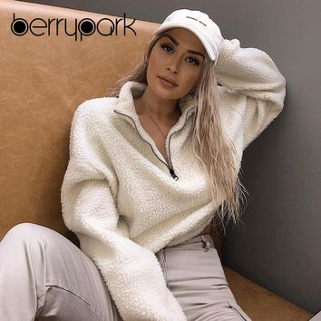 BerryPark High Quality Fleece Hoodie Sweatshirt 2019 Winter Women Flannel Tennis Jacket Long Sleeve Outdoor Sport Velvet Coat