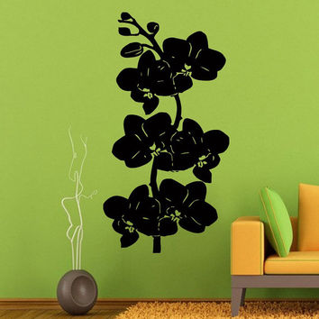 Orchid Branch Wall Decals Orchid Flower Stickers Living Room Decor Home Decor Tree Vinyl Art Spa Wall Decor Nursery Room Decor KG366