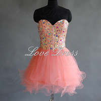 Charming Sweetheart Mini Pink Prom Dress,Homecoming Dress,Short Homecoming,Formal Dress