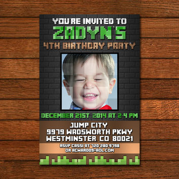 Minecraft Birthday Black Wall Invitation