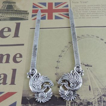 2PCS   Antiqued Silver Alloy Hair Jewelry Phoenix Hairpin  Hair Sticks 39294