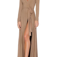 Georgina Cardigan / Wrap Dress - Dark Beige