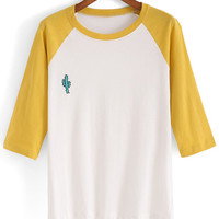 Dip Hem Color-block Embroidered T-shirt