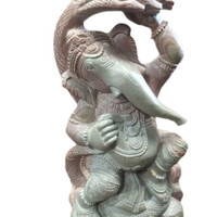 """6"""" HAND CARVED GOOD LUCK GANESHA STATUE PLAYING WITH SHESHNAAG STONE SCULPTURE"""