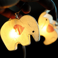 20 x White elephant handmade string light beautiful lantern hanging lantern zoo animal kid bedroom natural paper