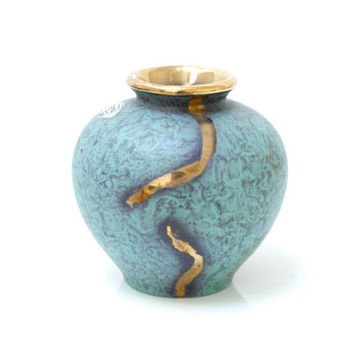 JASBA Vase 'Jaspatina' Decor, Green and Gold Glaze, 1950s Midcentury Modern, Collectible, Hard to Find, Made in Germany, German Midcentury