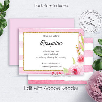 Rose Blush Wedding Reception Card, Invitation, Floral Details Card Wedding, Wedding Insert Card, Information Card, Floral Wedding Card