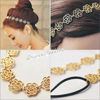 Cute Exquisite Hollow Out Lovely Rose Flower Hair Band  Sweet Headband Head Band