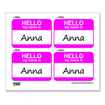 Anna Hello My Name Is - Sheet of 4 Stickers