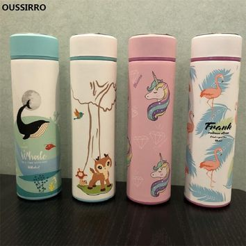 OUSSIRRO Children Cartoon Stainless Steel Flamingo Thermos Cup Originality Ma'am Lovely Unicorn Portable Water Bottle