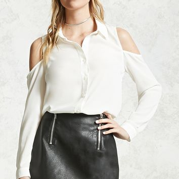 Open-Shoulder Chiffon Blouse
