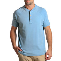 Puremeso Heathered Short Sleeve Henley in Faded Denim by The Normal Brand
