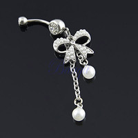 Unique Belly Ring Pearl Bow with 2-Tassel Pearl Dangle Navel Belly Ring 30Days