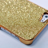 Glitter Glittery Sparkly Metallic GoldenBling Hard Case for iPhone 5 (Golden)