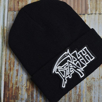 Death Grim Reaper Grunge Thrash Metal Punk Grunge Rock Black Street Skate Knit Ski Unisex Beanie Hat Embroidered Patch Patches