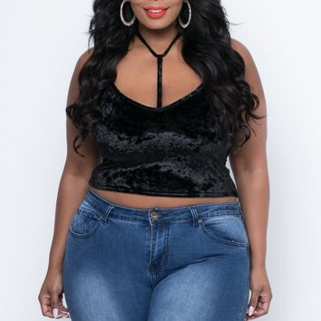 Plus Size Camilla Crushed Velvet Crop Top - Black