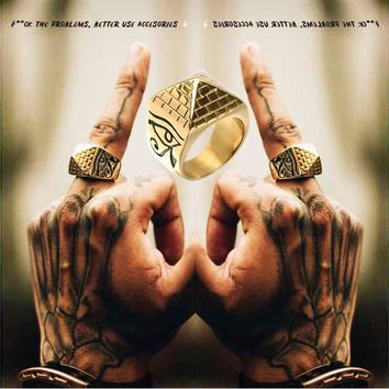 D&Z Gold Color Totem Pyramid Ring Mens 316L Titanium Stainless Steel Eye of Horus Signet Rings for Men Hiphop Jewelry Unique