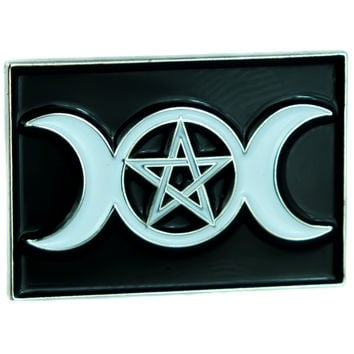 Triple Moon Goddess Wicca Pentagram Lapel Pin Gothic Jewelry Witchcraft Jacket Pin