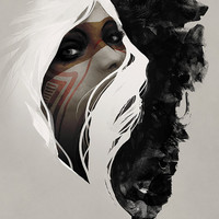 Fine Art Print - Digital Painting - Native American, Wolf, Grizzly Bear, Tribal, Nature, Totem,  18 x 24