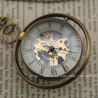 Mechanical Pocket Watch the harry potter jewelry time turner  necklace Steampunk mens Jewelry