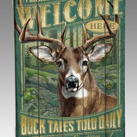Whitetail Deer Wooden Cabin Sign