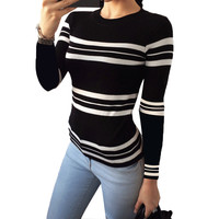 Black White Striped Women Sweaters And Pullovers 2016 Autumn Winter O-Neck Long Sleeve Knitted Sweater Patchwork Women Sweaters