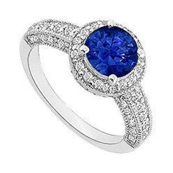 Sapphire and Diamond Halo Engagement Ring : 14K White Gold - 1.55 CT TGW