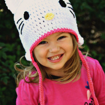 Hello Kitty Crochet Beanie Hat, choose from 36 colors, sizes 3-6 Months, 6-12 Months,Toddler, Teen and Adult....Great for a Christmas gift