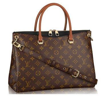 DCK4S2 Authentic Louis Vuitton Monogram Canvas Pallas Handbag Noir Article: M41147 Made in France