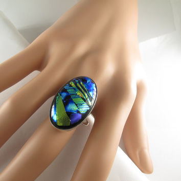 Statement Ring, Dichroic Oval Ring, Dichroic Blue Stone Ring, Sterling Silver Ring, Colorful Ring Fused Glass Jewelry, Big Stone Ring