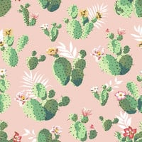 Cacti on Pink Removable Wallpaper