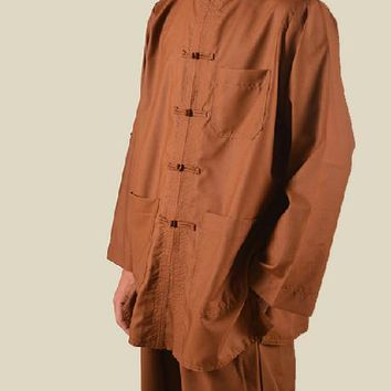 Unisex coffeeSummer&spring zen suit Buddhist uniforms Tang suits lay Meditation clothes buddhism monk clothing