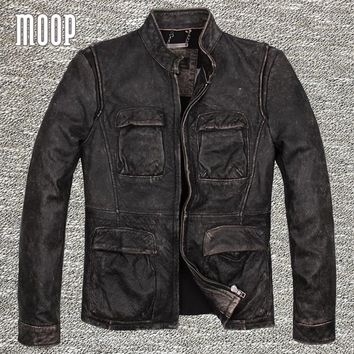 Retro black genuine leather jacket coat men cow leather motorcycle jackets chaqueta moto hombre veste cuir homme cappotto LT1264