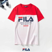 FILA Summer Fashionable Women Men Casual Print Stitching Color T-Shirt Top Red