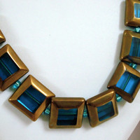 Blue Gold square glass beads necklace with matching earrings,fashion necklace, indian necklace, glass bead jewelry, square tile jewelry