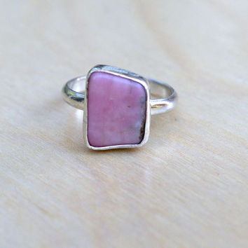 Rhodonite Sterling Silver Ring, Rustic Ring, Boho Ring, Gemstone Ring, Gypsy Syle, Statement Ring, Hippie Jewelry, Modern, Bohemian