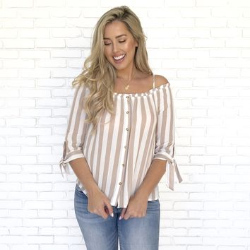 Sunset Mocha Stripe Blouse