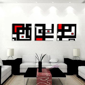 Art Oil Painting 3 Abstract Picture White Red and Geometric Figure No Frame