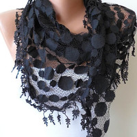 Black Lace Scarf - Polka Dot Patterned Tulle Scarf with Black Trim