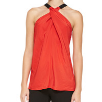 Women's Lisa Cross-Neck Satin Top - Ramy Brook - Vermillion