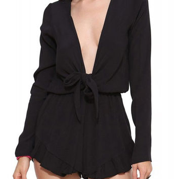 Black V-Neck Long Sleeve Romper with Bowknot