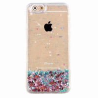 Turquoise Glitter Rose Gold Hearts iPhone Case
