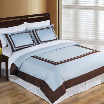 Wrinkle Free Combed cotton Hotel Blue/Chocolate Duvet cover set