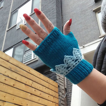 Blue Fingerless Gloves,Hand Knitted Fingerless gloves ,texting gloves ,Blue Mittens, Wrist Warmers ,knit crochet gloves lace crochet cuffs