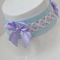 Fairy queen - larp cosplay - pastel kawaii cute lolita neko girl kitten pet play - pink and blue lace collar