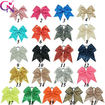 "21 Pcs/lot 8"" Fashion Handmade Sequin Bling Cheer Bows For Girl Children Kids Boutique Sequin Hair Accessories With Elastic"