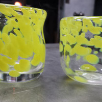 Hand Blown Expresso Cups , Yellow Expresso Cups, Coffee Cups