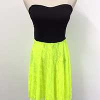 Black And Yellow Lace Strapless Dress